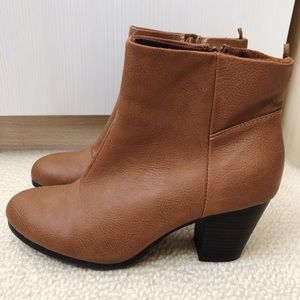 Brown Faux Leather Ankle Booties - Old Navy